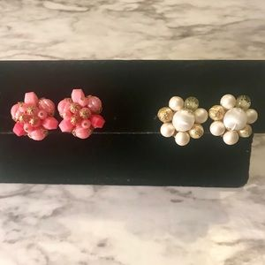 Jewelry - 2 Sets of Vintage Cluster Beaded Earrings